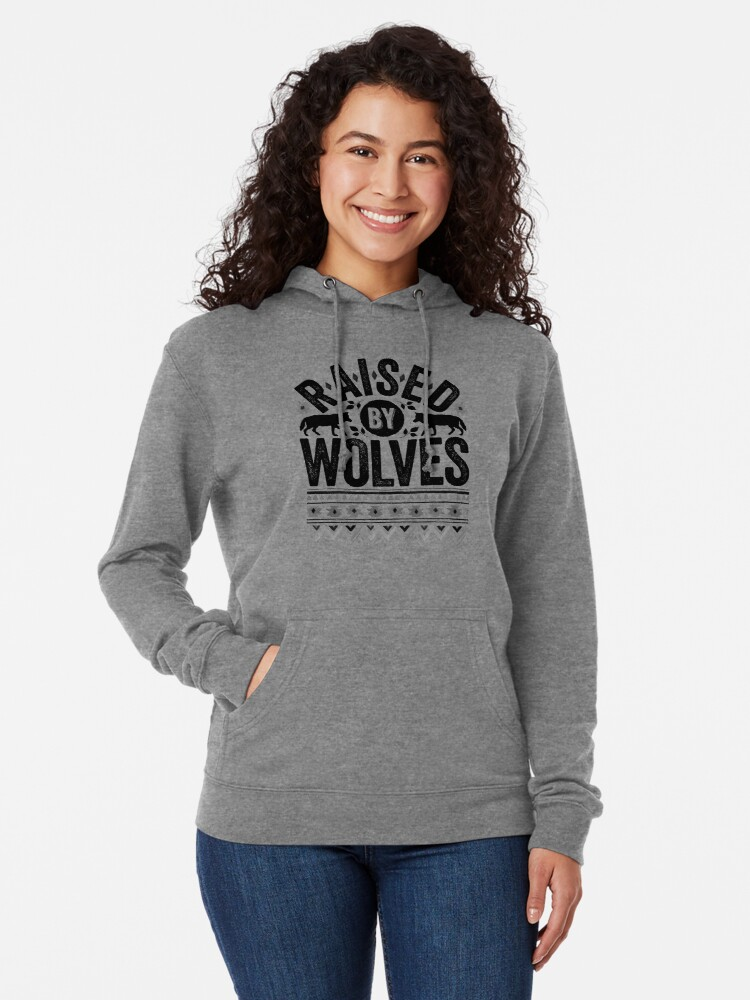 Alternate view of Raised By Wolves {Black + White} Lightweight Hoodie