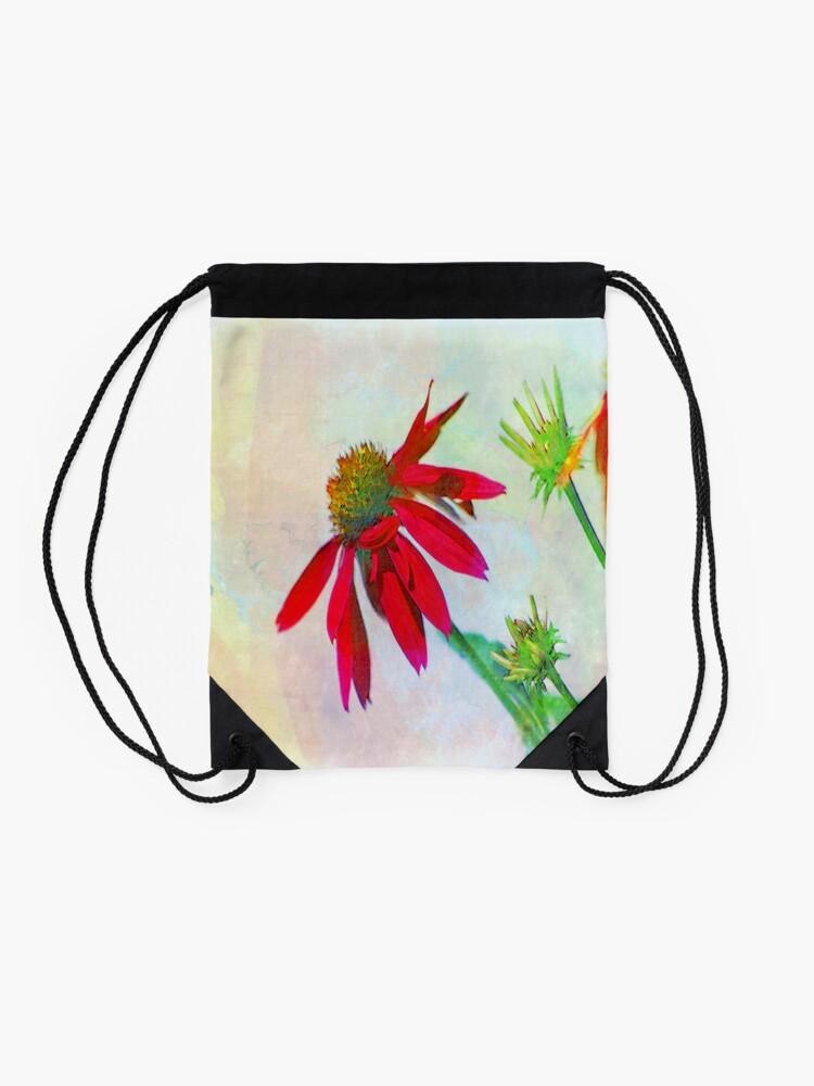 Alternate view of Red Gerbera Graphic Drawstring Bag