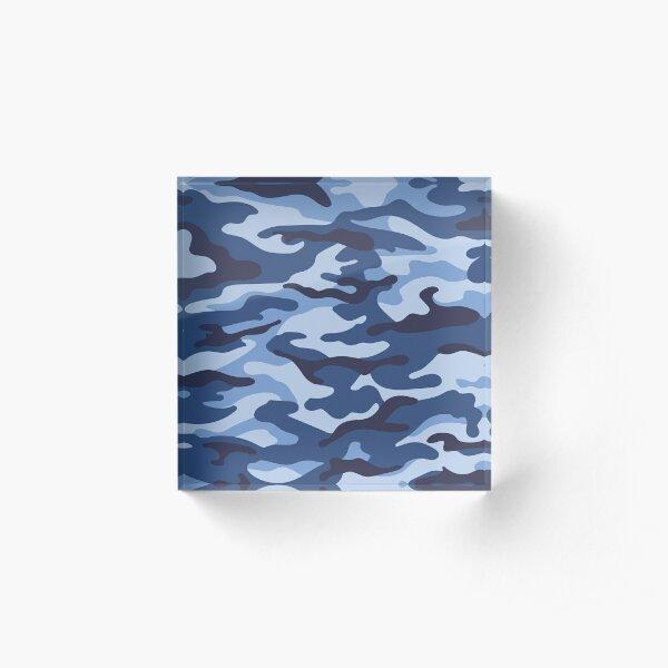 Blaue Camouflage Acrylblock