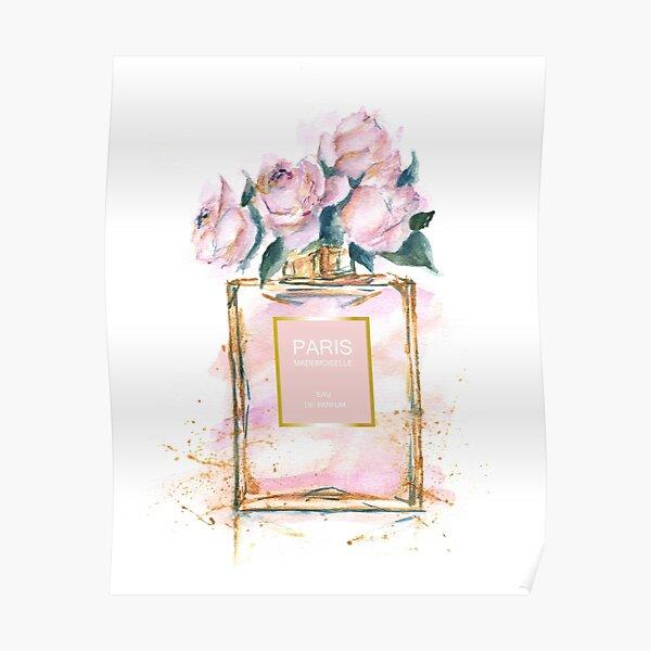 Paris perfume watercolor peonies illustration  Poster