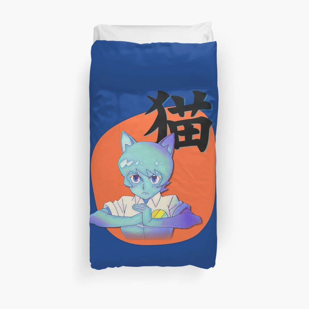 Anime Nicole with Cat in Japanese, Amazing world of Gumball Duvet Cover