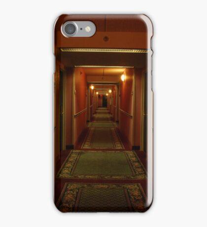 11:13pm.  red hallway. green hotel. iPhone Case/Skin