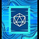 Aqua Glitch Polyhedral D20 Würfel Tabletop RPG von pixeptional