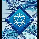 Blue Glitch Polyhedral D20 Würfel Tabletop RPG von pixeptional