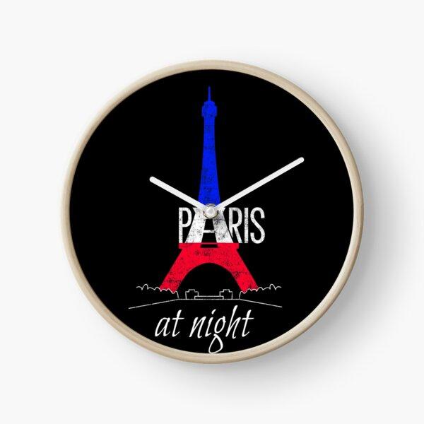 Paris Eiffel Tower at night Colors of France National Flag Souvenir Clock