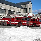 Tower Ladder 3 and Ladder Truck 2, FFD Fitchburg MA by Rebecca Bryson