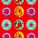 Donuts auf rot von Yamy Morrell  Art and Design