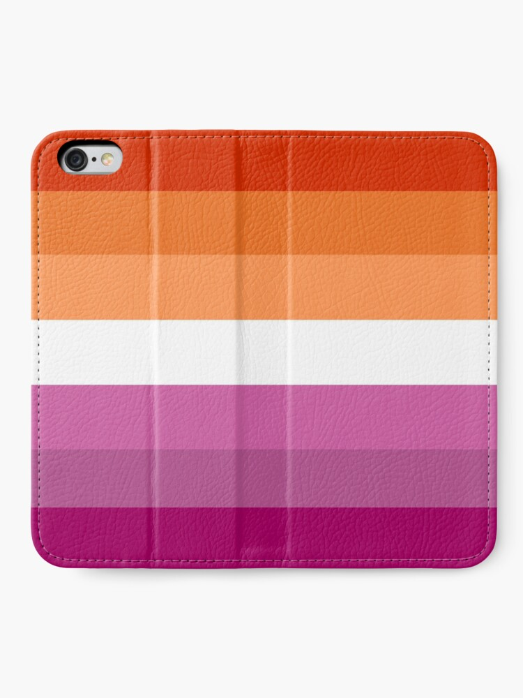 Alternative Ansicht von Orange - Magenta Linien // Lesben Pride Flag // Butch Femme Pride Flagge iPhone Flip-Case