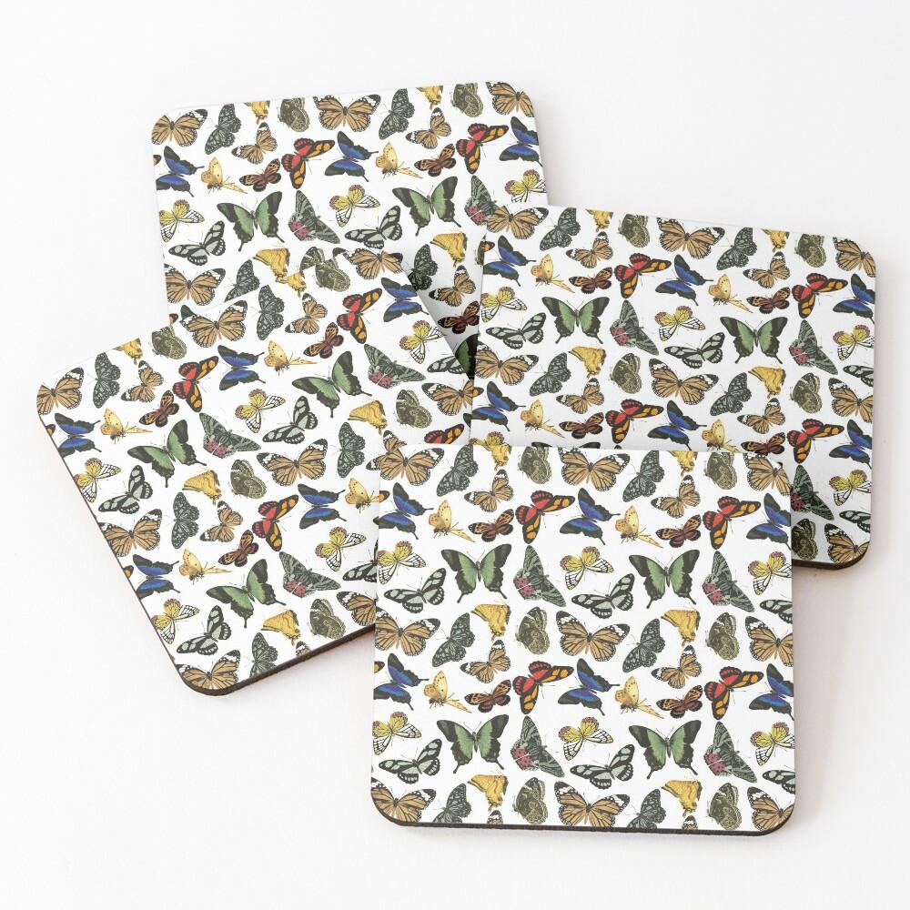 Vintage Butterflies   Butterfly Patterns    Coasters (Set of 4)