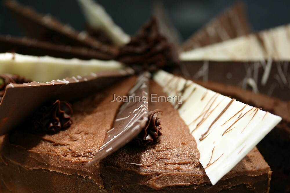 Delicious, gooey, tempting chocolate cake by Joanne Emery