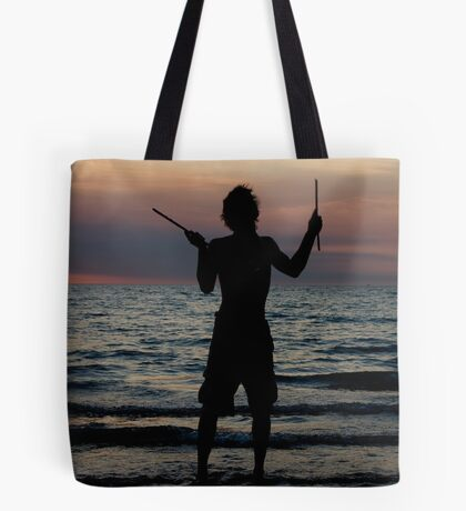 Mindil market entertainment - fire stick silhouette Tote Bag