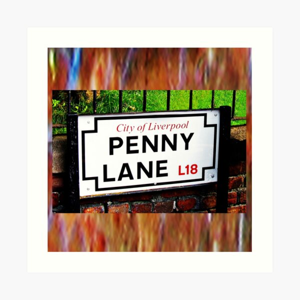 Penny lane Liverpool sign, famous song title Art Print