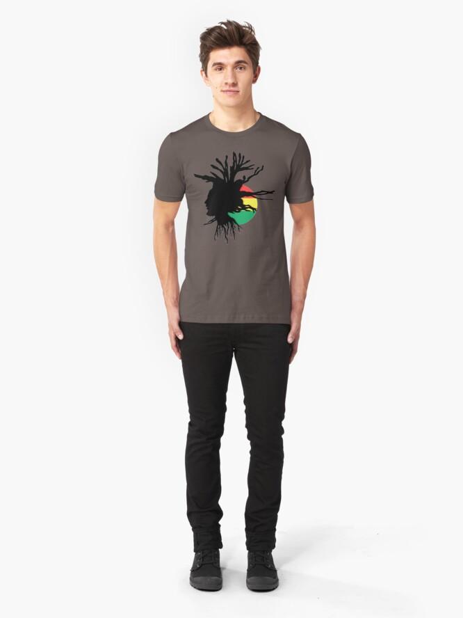Alternate view of Rasta Dreads Ethiopian Flag Reggae Roots Rastafarian Jamaica Slim Fit T-Shirt