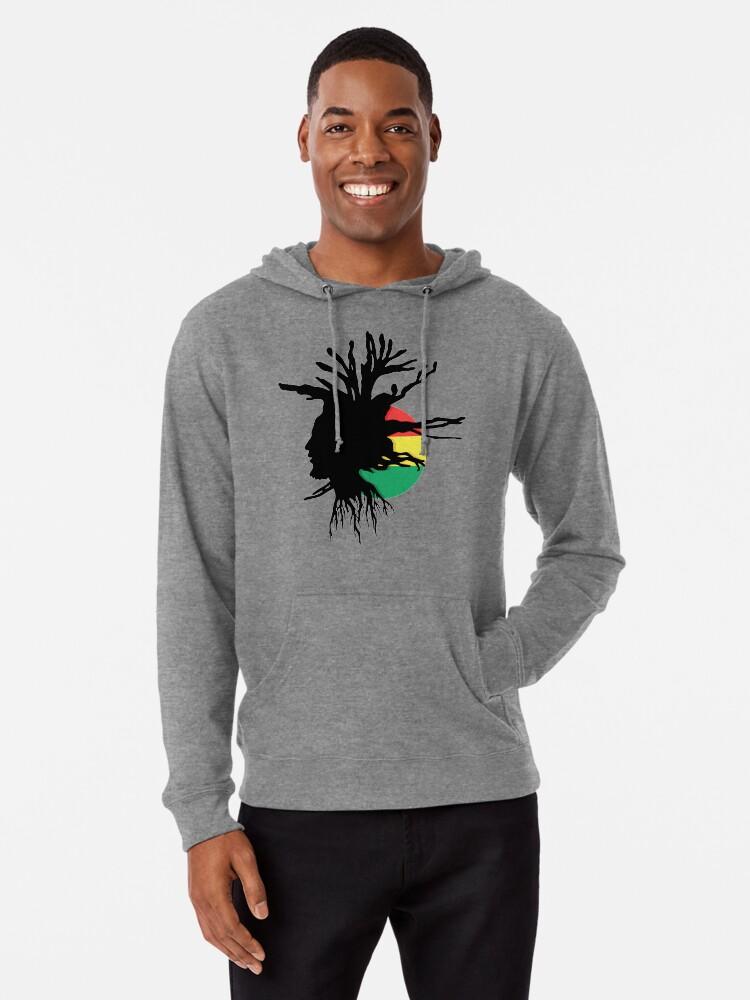Alternate view of Rasta Dreads Ethiopian Flag Reggae Roots Rastafarian Jamaica Lightweight Hoodie