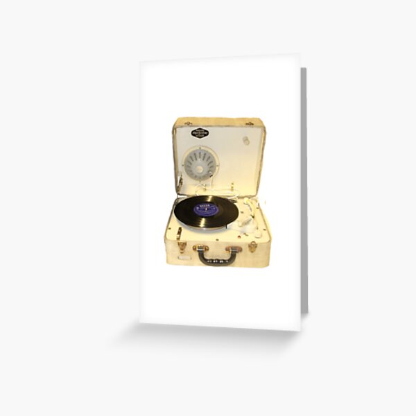 Vintage 1950s record player with vinyl record Greeting Card