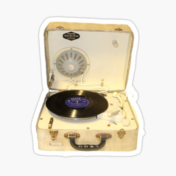 Vintage 1950s record player with vinyl record Sticker
