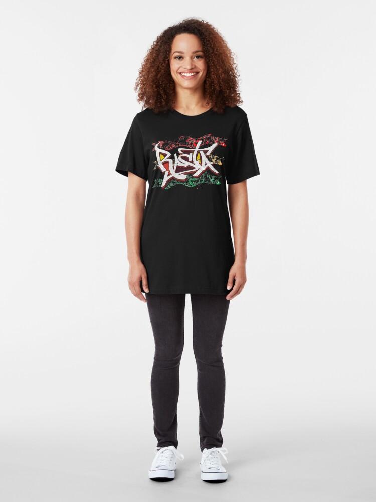 Alternate view of RASTA Rastafarian Jamaica Dreadlocks Roots Ethiopian Flag Graffiti Slim Fit T-Shirt