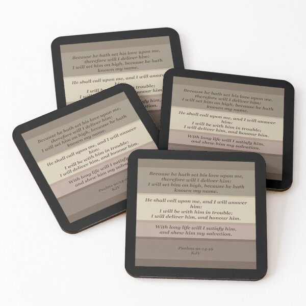 Psalms 91 Therefore will I deliver him Coasters (Set of 4)
