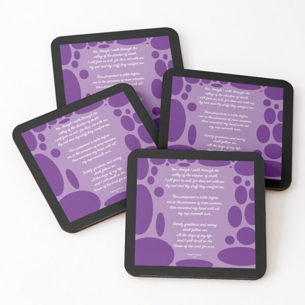 Psalms 23 I will fear no evil Coasters (Set of 4)