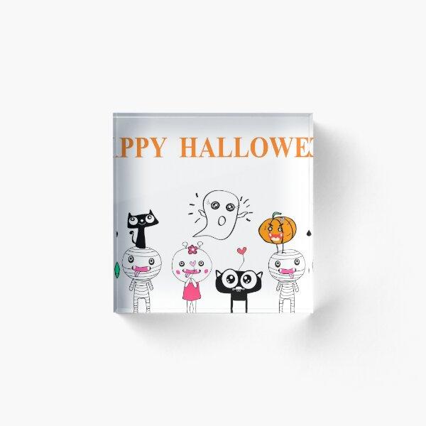 Happy haloween  cute cartoon background  Acrylic Block