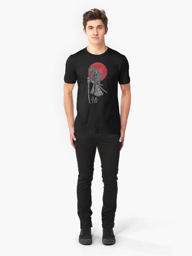 Alternate view of Samurai Sword Red Moon Kanji Print Slim Fit T-Shirt