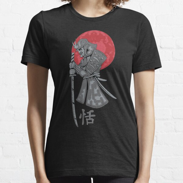 Samurai Sword Red Moon Kanji Print Essential T-Shirt