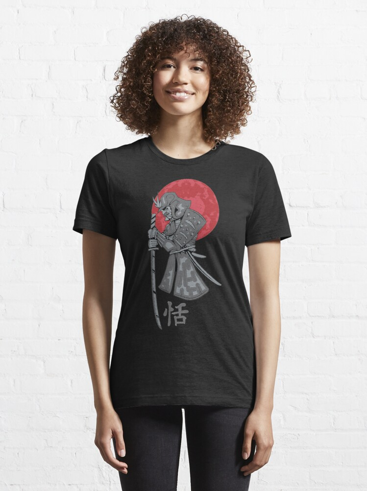 Alternate view of Samurai Sword Red Moon Kanji Print Essential T-Shirt