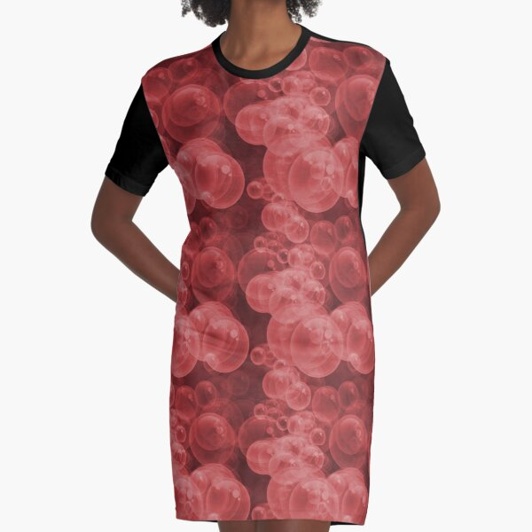 Small Red Water Air Bubbles  Graphic T-Shirt Dress