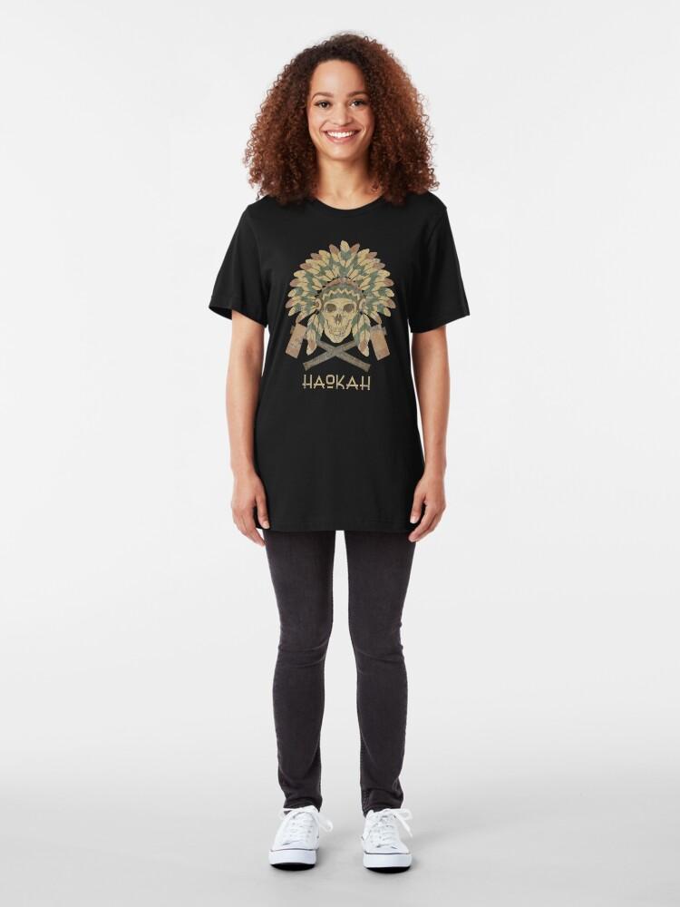 Alternate view of Haokah Empath Native American Sacred Clown Slim Fit T-Shirt