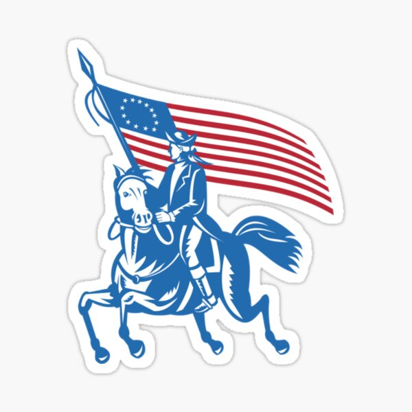 BETSY ROSS FLAG SOLDIER AND HORSE Sticker