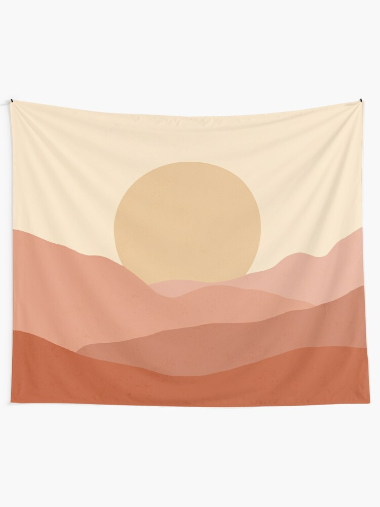 Alternate view of Minimalist Landscape Earth Tones Design | muted tones Tapestry
