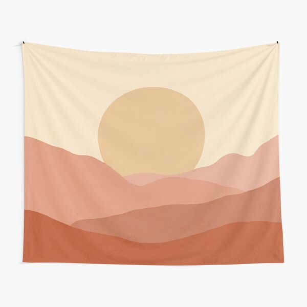 Minimalist Landscape Earth Tones Design | muted tones Tapestry