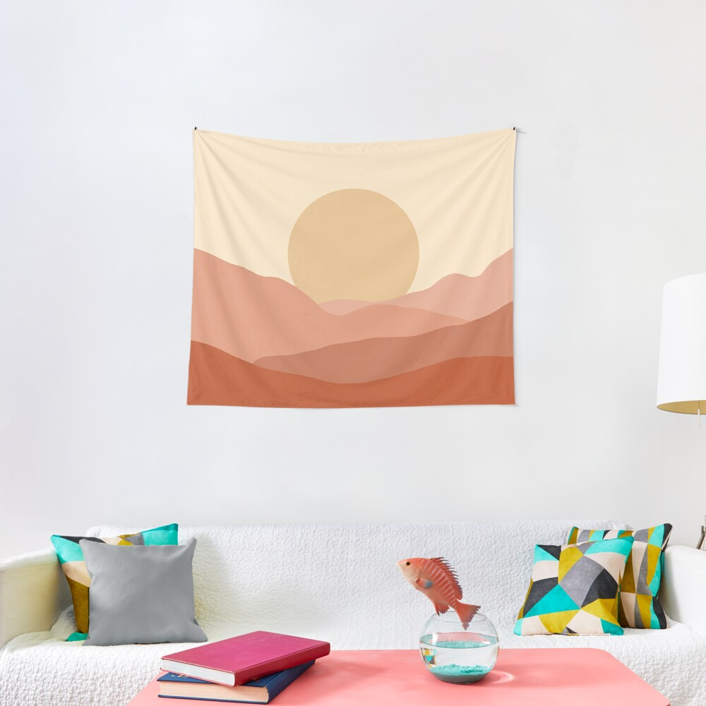Minimalist Landscape Earth Tones Design | muted tones Tapestry