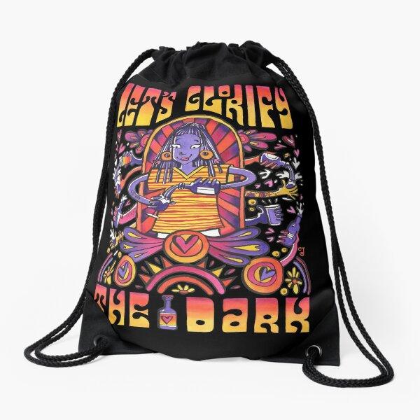 Psychedelic Dark Beer Poster Drawstring Bag