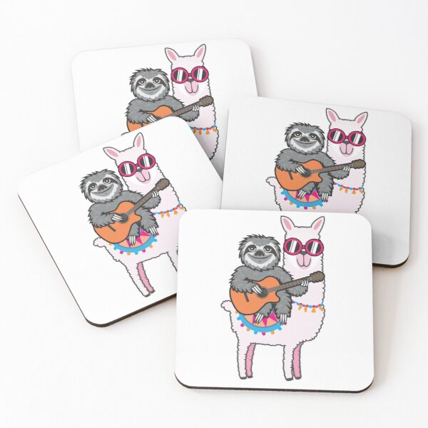 Sloth guitar llama Coasters (Set of 4)
