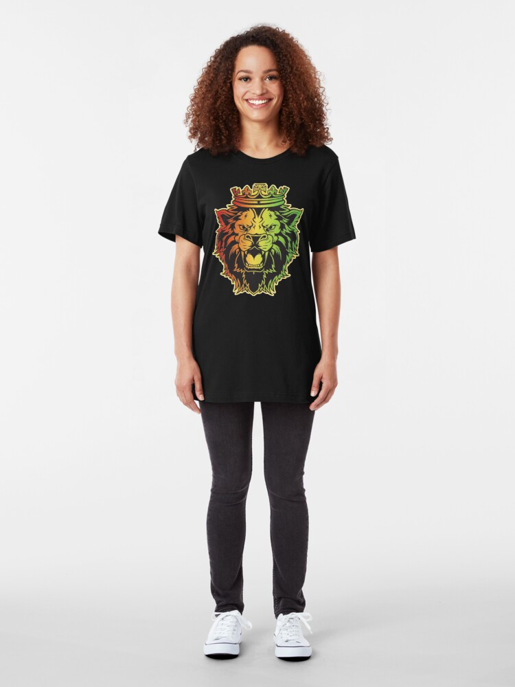 Alternate view of Lion Of Judah Rasta Dreads Roots Reggae Jamaica Culture Slim Fit T-Shirt