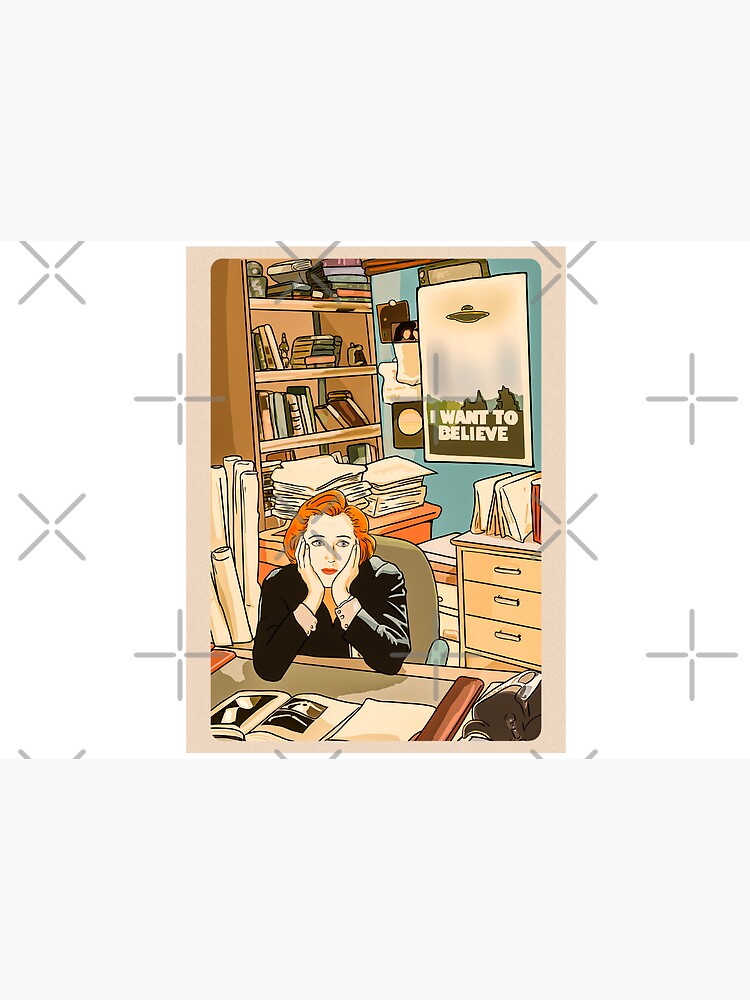 The skeptical Dana Scully in the Mulder's office The X Files ( more 70 designs XFiles in my shop) by MimieTrouvetou