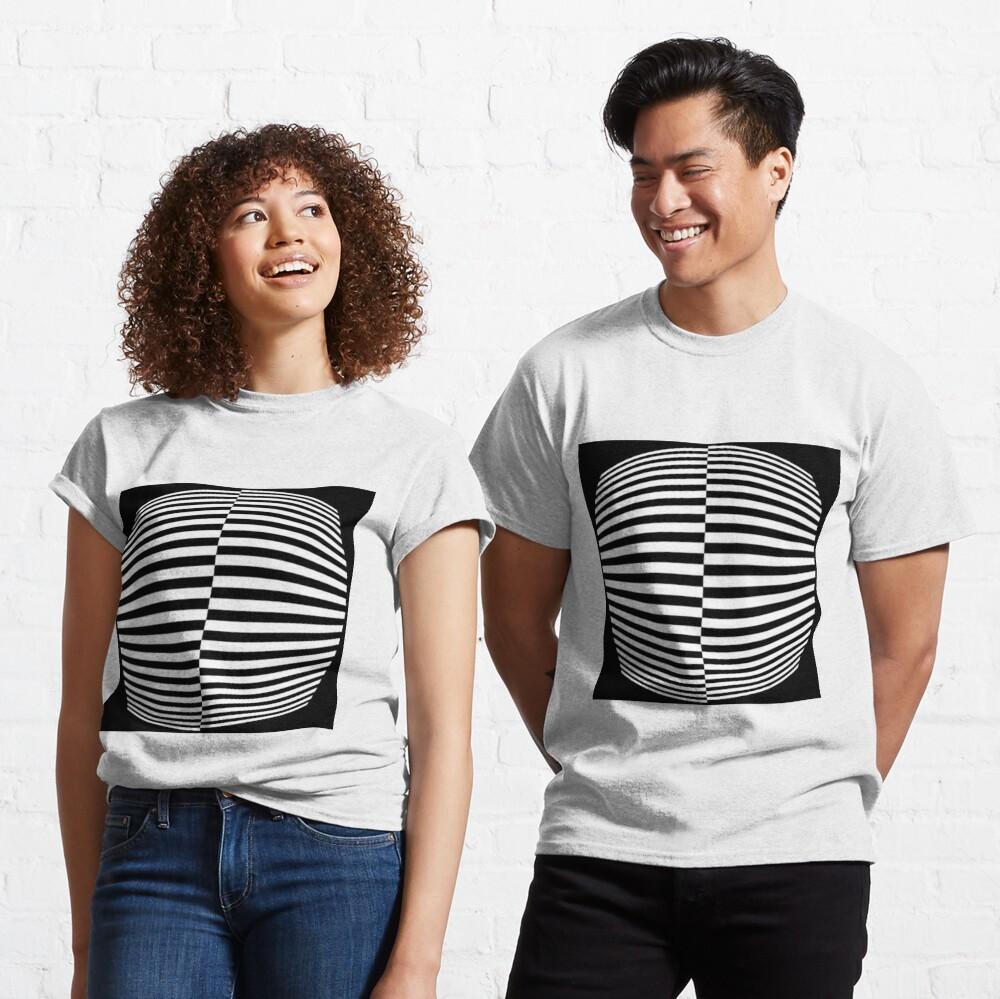 #Pattern, #abstract, #design, #art, geometry, illustration, monochrome, illusion, modern, geometric shape Classic T-Shirt