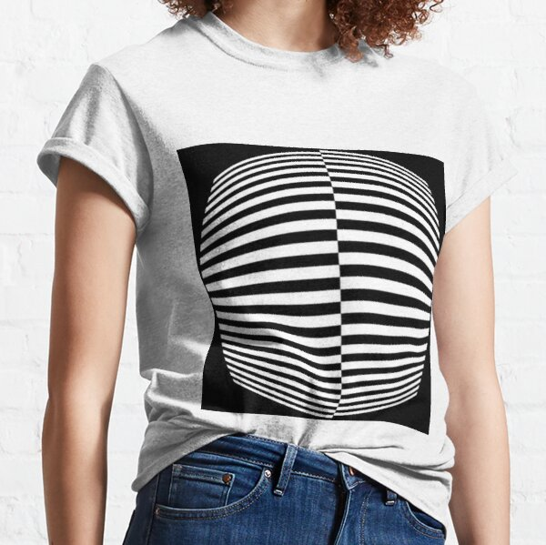 #Pattern, #abstract, #design, #art, geometry, illustration, monochrome, illusion, modern, geometric shape Classic T-Shirt