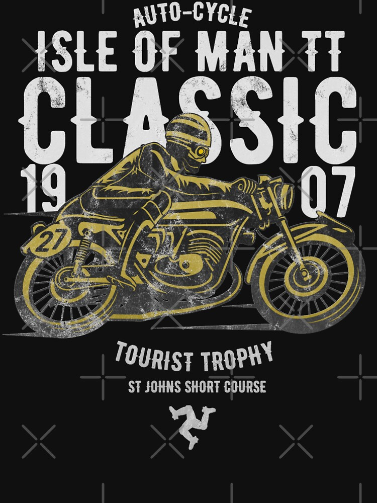 Isle Of Man TT Racing Manx Classic Vintage 3 Legs Of Man Flag Road Races GP Classic Print by thespottydogg