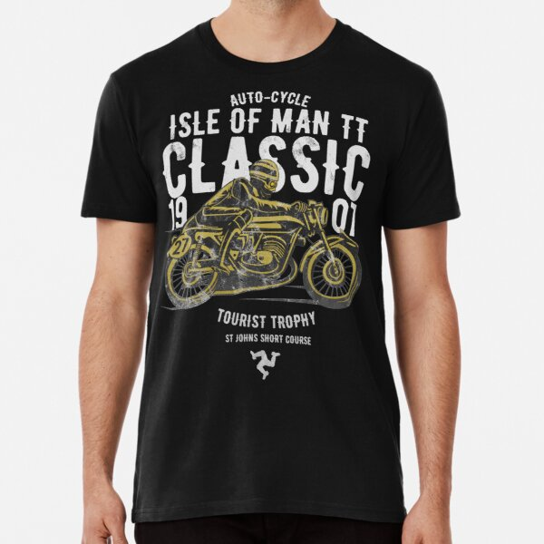 Isle Of Man TT Racing Manx Classic Vintage 3 Legs Of Man Flag Road Races GP Classic Print Premium T-Shirt