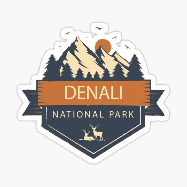 Denali National Park Retro Mountain Sticker Sticker