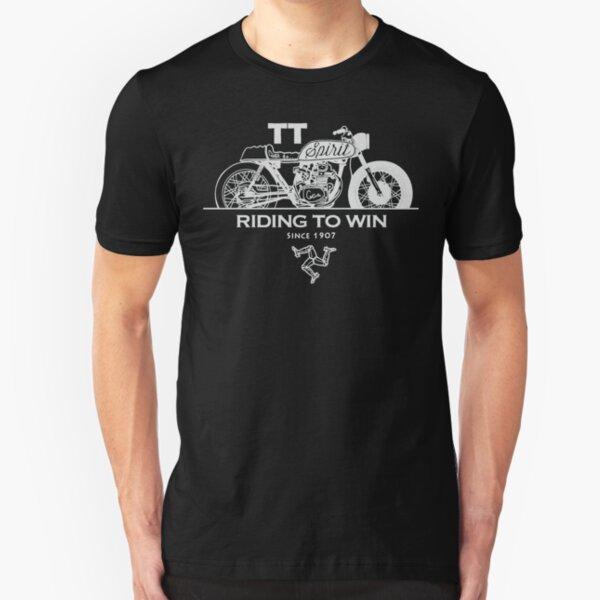 Isle Of Man Manx TT Racing Spirit Of The Racers Tourist Trophy Biker Races Graphic Slim Fit T-Shirt