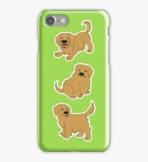 Golden Retriever Puppy Pattern - Green iPhone Case/Skin