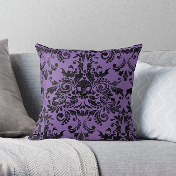 Skull Damask Pattern Throw Pillow