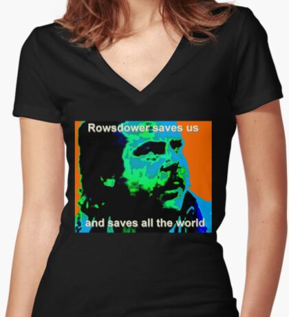 Rowsdower Saves Us Women's Fitted V-Neck T-Shirt