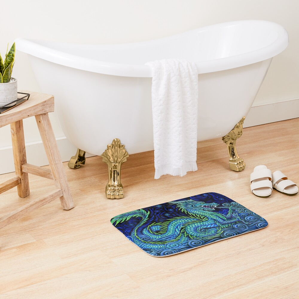 Chinese Azure Dragon Bath Mat