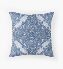 Denim Blue Lace Pencil Doodle Throw Pillow