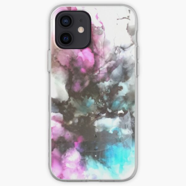 Puff of Smoke in Pink and Turquoise iPhone Soft Case