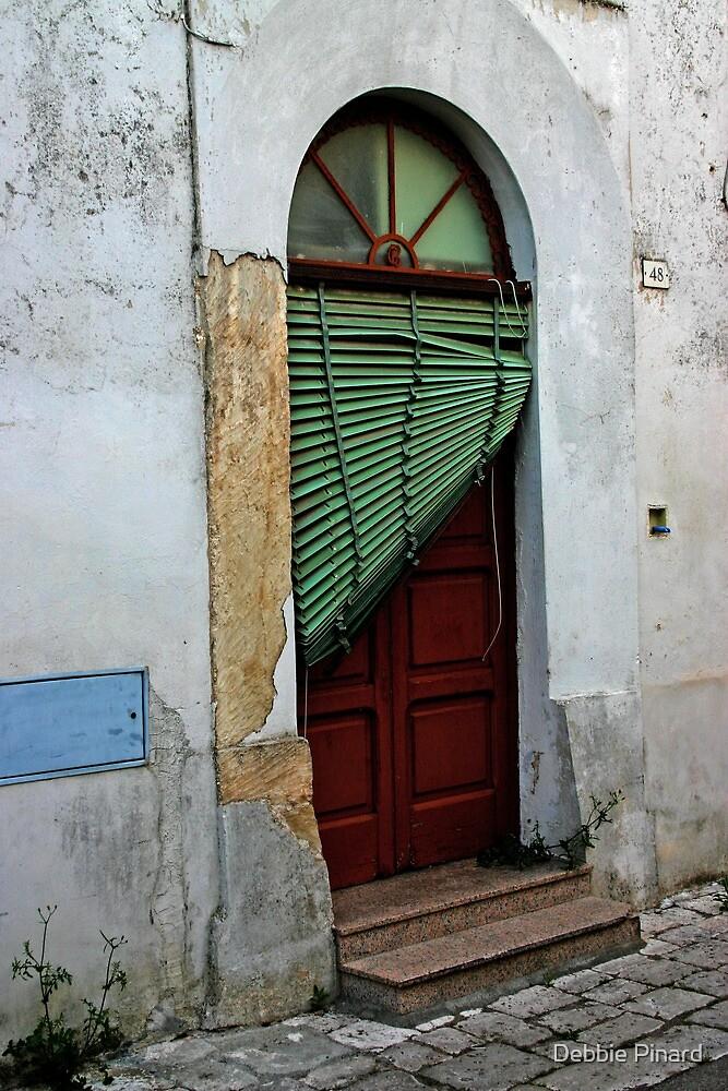 Door with Venetian Blind - Puglia, Italy by Debbie Pinard